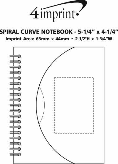 """Imprint Area of Spiral Curve Notebook - 5-1/4"""" x 4-1/4"""""""