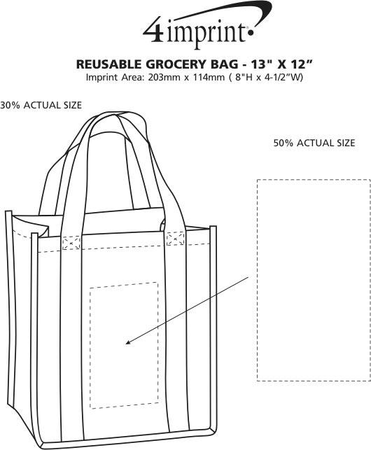 "Imprint Area of Reusable Grocery Bag - 13"" x 12"""