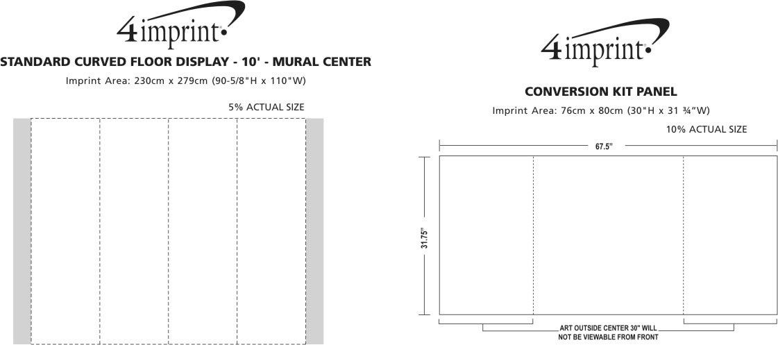 Imprint Area of Standard 10' Pop-Up Floor Display - Full Colour