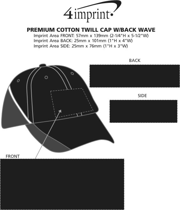 Imprint Area of Premium Cotton Twill Cap with Back Wave