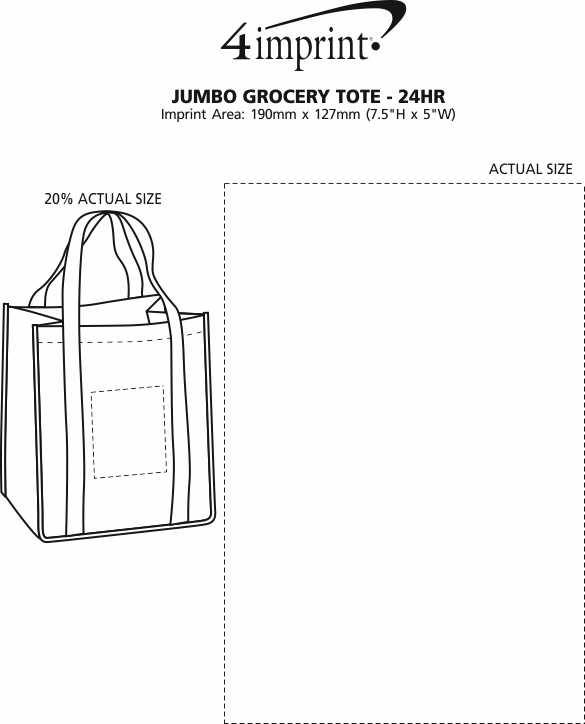 Imprint Area of Jumbo Grocery Tote - 24 hr