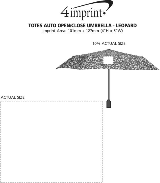 "Imprint Area of totes Auto Open/Close Umbrella - Leopard - 43"" Arc"