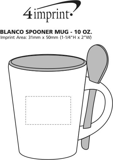 Imprint Area of Blanco Spooner Mug - 8 oz.