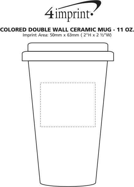 Imprint Area of Colourful Double Wall Ceramic Mug - 11 oz.