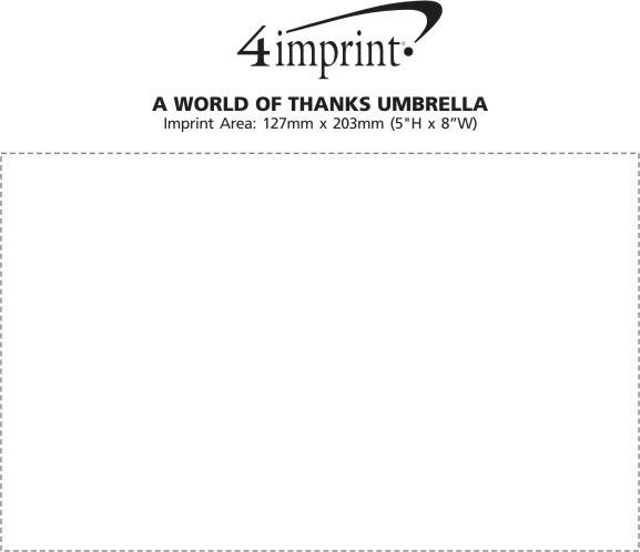 "Imprint Area of World of Thanks Umbrella - 48"" Arc"