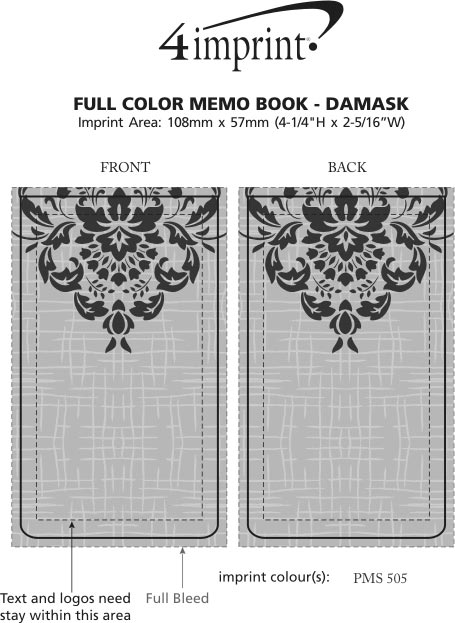 Imprint Area of Full Colour Memo Notebook - Damask