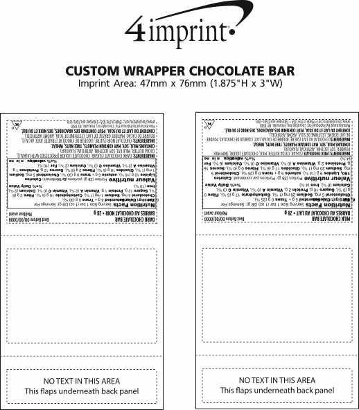 Imprint Area of Custom Wrapper Chocolate Bar