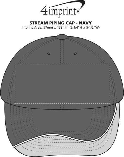 Imprint Area of Stream Piping Cap - Navy