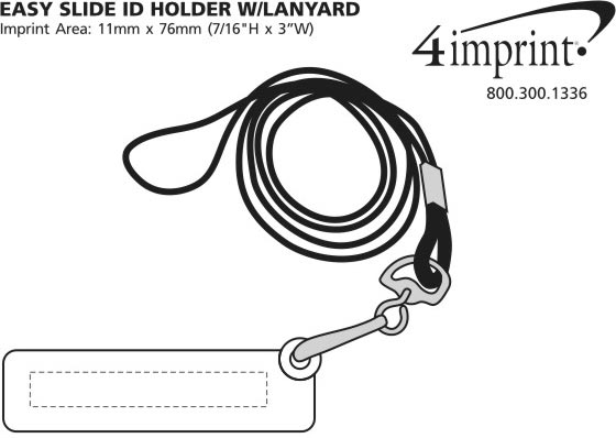 Imprint Area of Easy-Slide ID Holder with Lanyard
