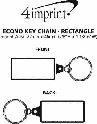Imprint Area of Econo Metal Keychain - Rectangle