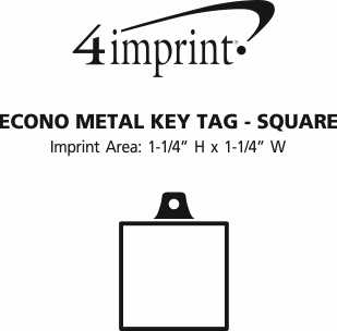 Imprint Area of Econo Metal Keychain - Square