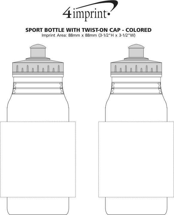 Imprint Area of Value Sport Bottle with Push Pull Lid - 20 oz. - Colours
