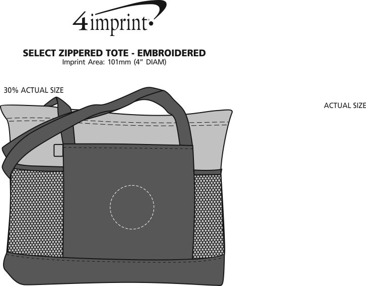 Imprint Area of Select Zippered Tote - Embroidered