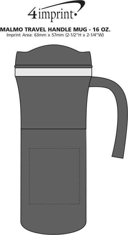 Imprint Area of Malmo Travel Handle Mug - 16 oz.