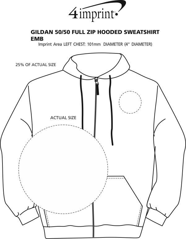 Imprint Area of Gildan 50/50 Full-Zip Hooded Sweatshirt - Embroidered