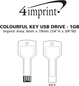Imprint Area of Colourful Key USB Drive - 1GB