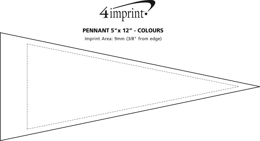"""Imprint Area of Pennant 5"""" x 12"""" - Colours"""