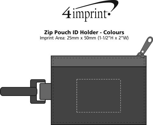Imprint Area of Zip Pouch ID Holder - Colours