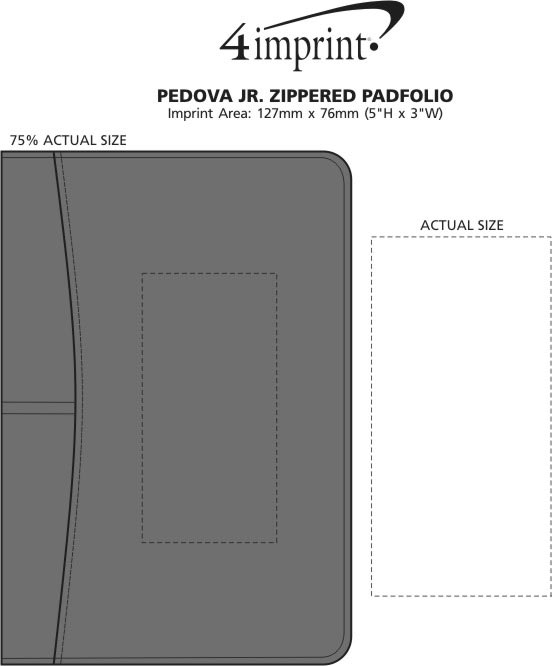Imprint Area of Pedova Jr. Zippered Padfolio