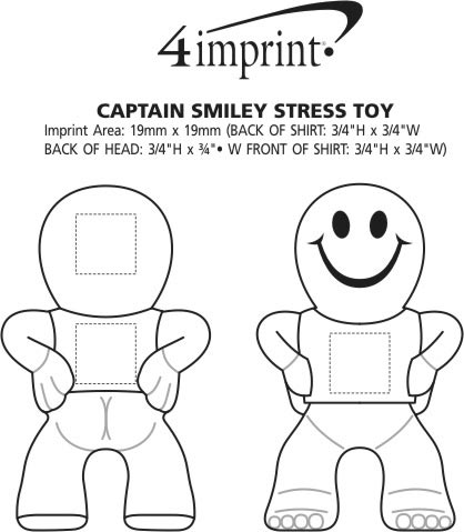 Imprint Area of Captain Smiley Stress Reliever