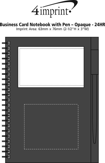 Imprint Area of Business Card Notebook with Pen - Opaque - 24 hr