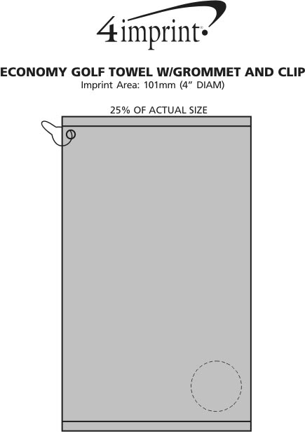 Imprint Area of Golf Towel with Grommet and Clip