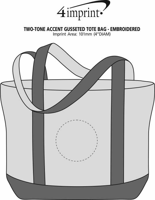 Imprint Area of Two-Tone Accent Gusseted Tote Bag - Embroidered