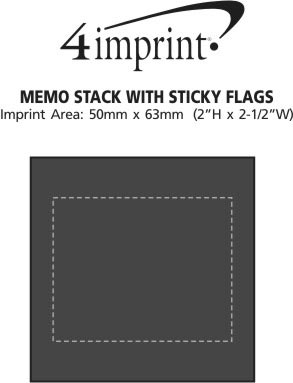 Imprint Area of Memo Stack with Sticky Flags