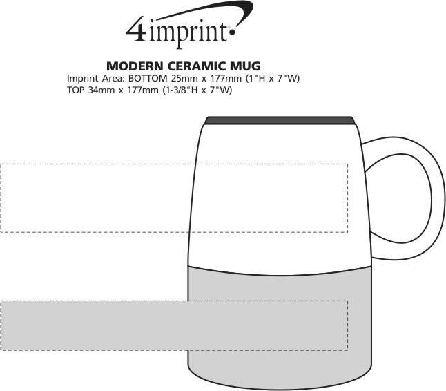 Imprint Area of Modern Ceramic Mug - 14 oz.