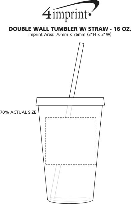 Imprint Area of Double Wall Tumbler with Straw - 16 oz.