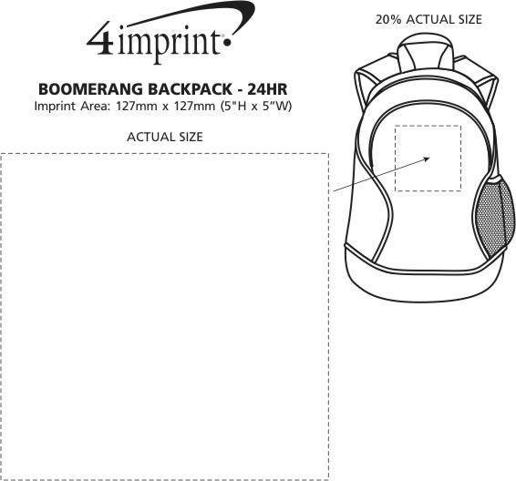 Imprint Area of Boomerang Backpack - 24 hr