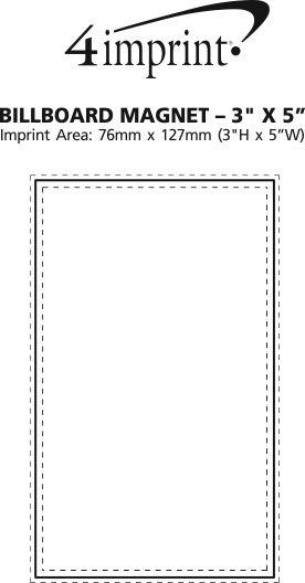 "Imprint Area of Billboard Magnet - 3"" x 5"""