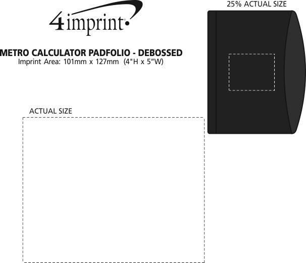 Imprint Area of Metro Calculator Padfolio with Notepad - Debossed
