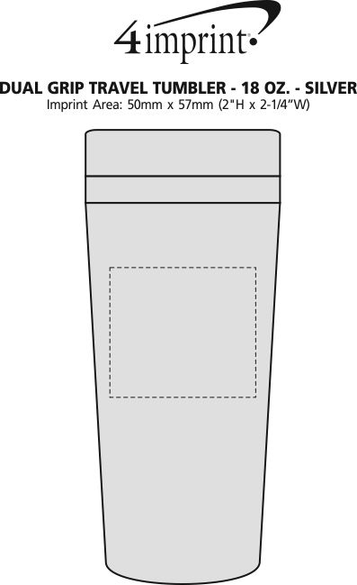 Imprint Area of Dual Grip Travel Tumbler - 15 oz. - Silver
