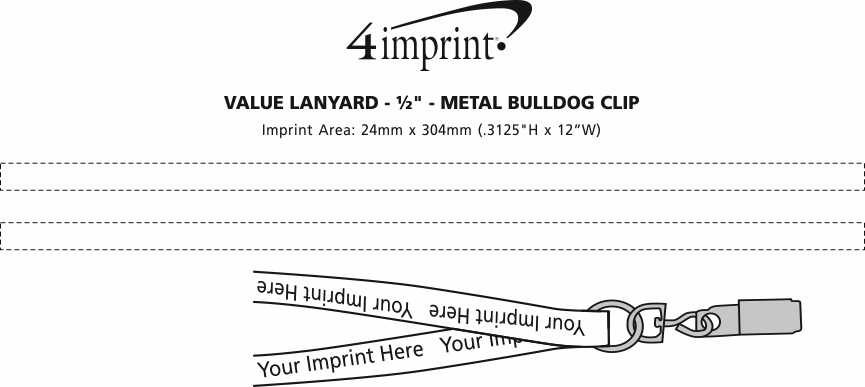 "Imprint Area of Value Lanyard - 1/2"" - Metal Bulldog Clip"