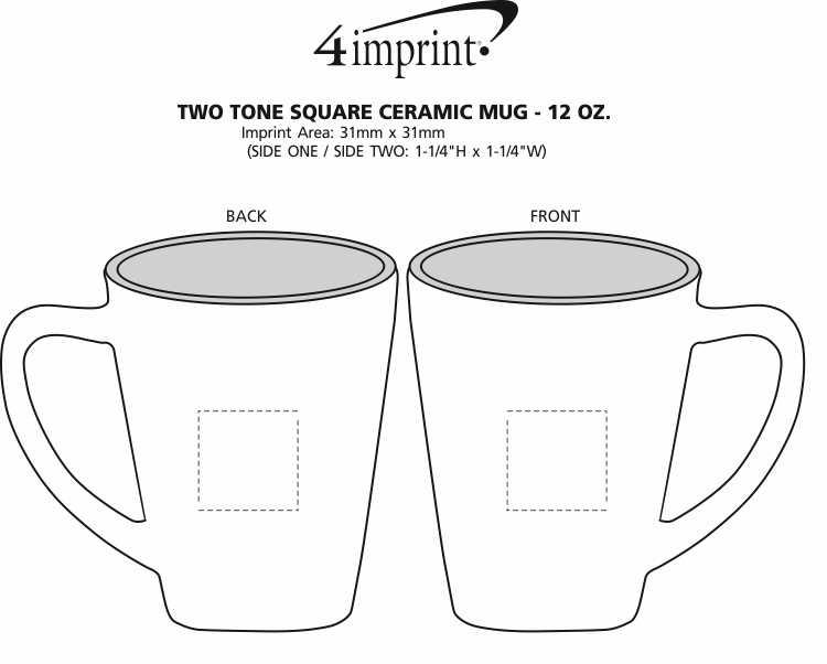 Imprint Area of Two-Tone Square Mug - 12 oz.- Closeout