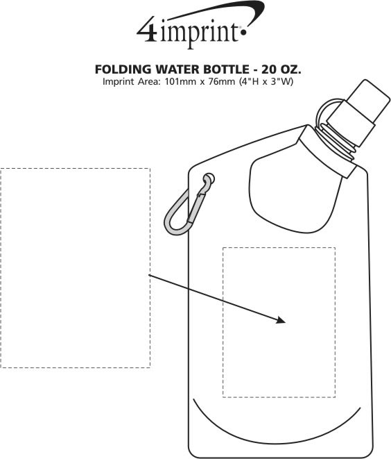 Imprint Area of Folding Water Bottle - 20 oz.