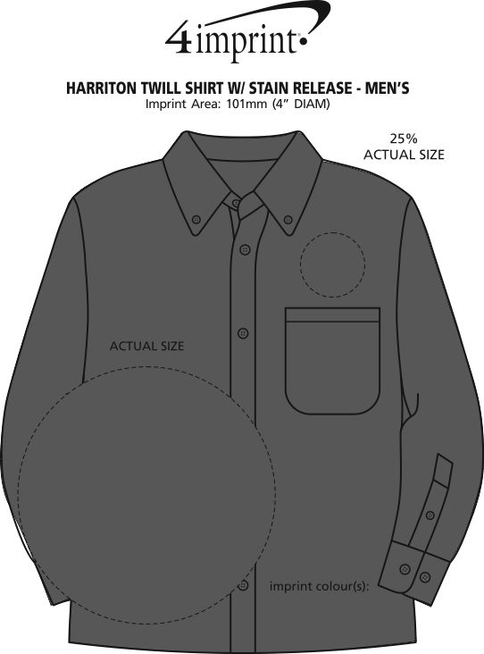 Imprint Area of Harriton Twill Shirt with Stain Release - Men's