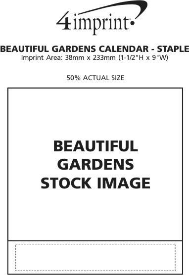 Imprint Area of Beautiful Gardens Calendar - Stapled