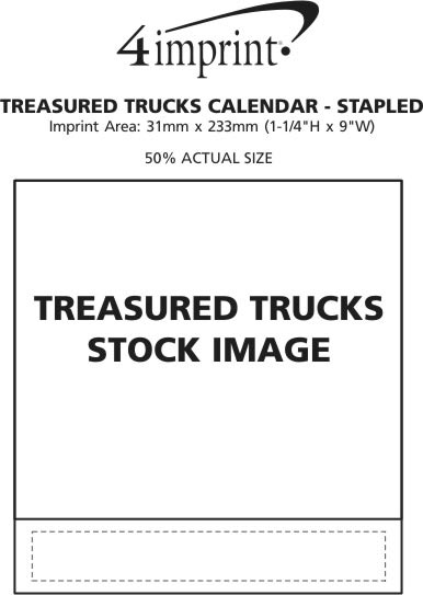 Imprint Area of Treasured Trucks Calendar - Stapled