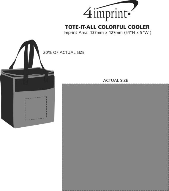 Imprint Area of Tote it All Colourful Cooler - Closeout