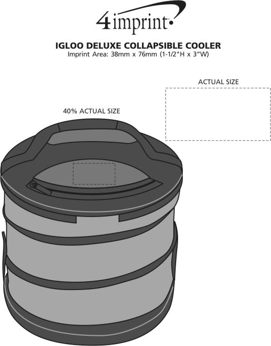 Imprint Area of Igloo Deluxe Collapsible Cooler