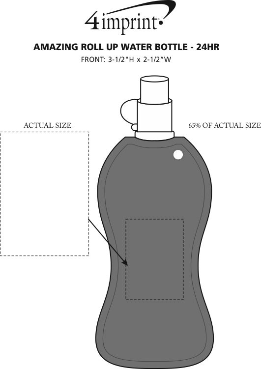 Imprint Area of Amazing Roll Up Water Bottle - 14 oz. - 24 hr