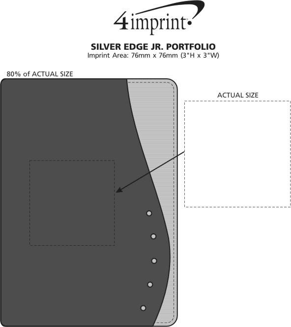 Imprint Area of Silver Edge Jr. Portfolio with Notepad