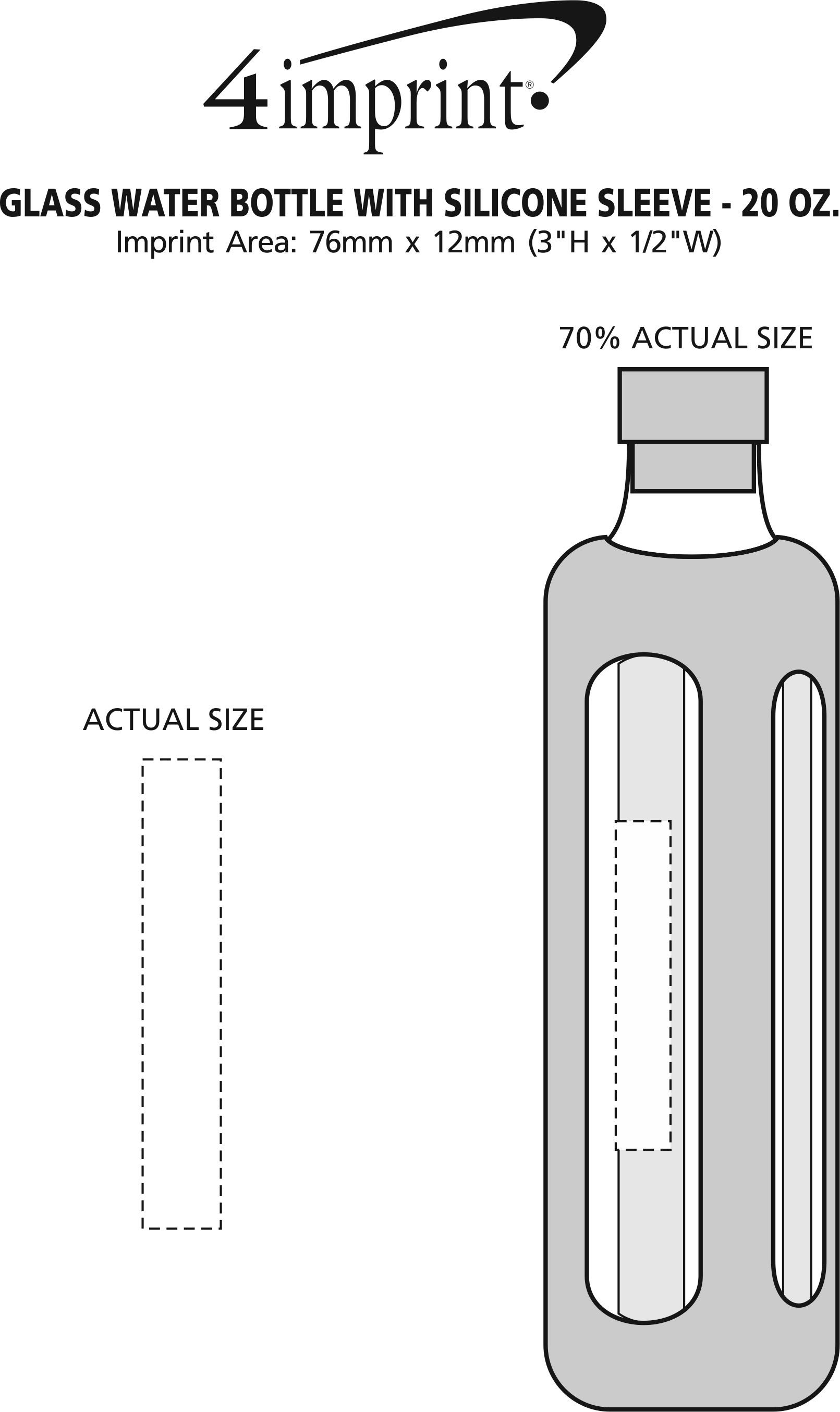 Imprint Area of Glass Water Bottle with Silicone Sleeve - 20 oz.