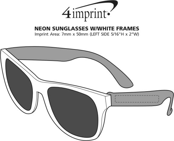 Imprint Area of Neon Sunglasses with White Frames
