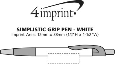 Imprint Area of Simplistic Grip Pen - White