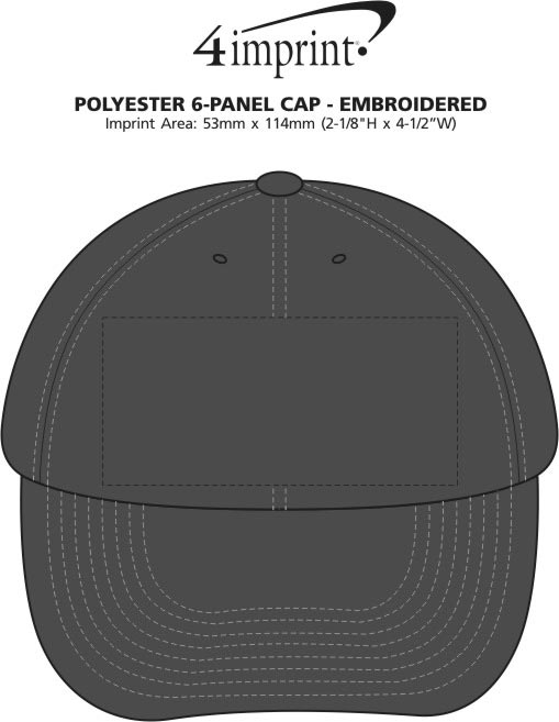 Imprint Area of Polyester 6-Panel Cap - Embroidered