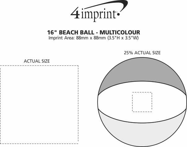 "Imprint Area of 16"" Beach Ball - Multicolour"