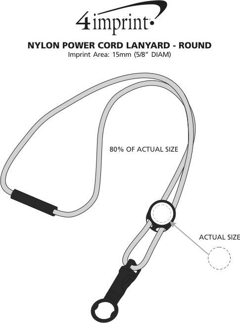 Imprint Area of Nylon Power Cord Lanyard - Round
